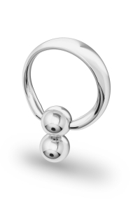 Apollon Double Ball Glans Ring, Silver