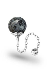 Helena Obsidian Vaginal Ball, Silver