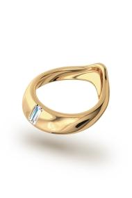 Adonis Baguette Glans Ring, Gold