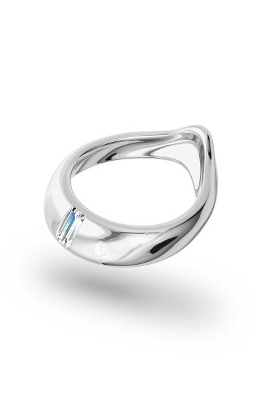 Adonis Baguette Glans Ring, Silver